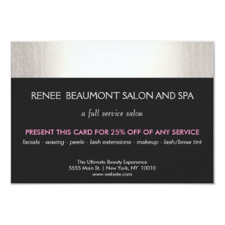 Silver and Black Salon and Spa Customer Coupon 9 Cm X 13 Cm Invitation Card
