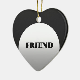 Silver And Black Two Tone Friends Ceramic Heart Decoration