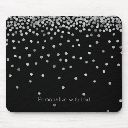 Silver and Black Watercolor Confetti Dots Mouse Mat