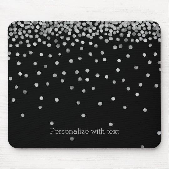 Silver and Black Watercolor Confetti Dots Mouse Pad