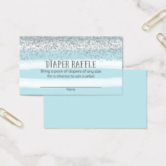 Silver and Blue Baby Shower Diaper Raffle Tickets
