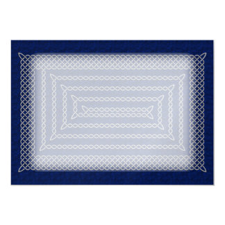 Silver And Blue Celtic Rectangular Spiral 13 Cm X 18 Cm Invitation Card