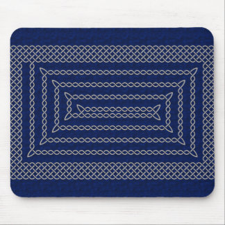 Silver And Blue Celtic Rectangular Spiral Mouse Pad