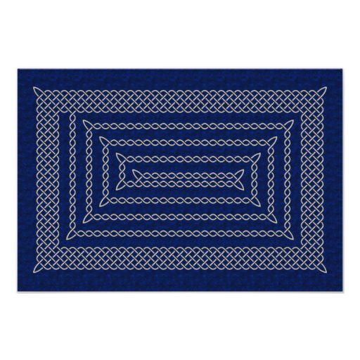 Silver And Blue Celtic Rectangular Spiral Photo Print