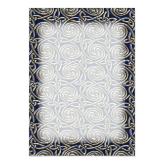 Silver And Blue Celtic Spiral Knots Pattern 13 Cm X 18 Cm Invitation Card