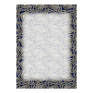Silver And Blue Celtic Spiral Knots Pattern Personalized Invitation