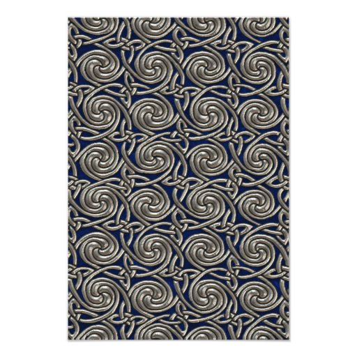 Silver And Blue Celtic Spiral Knots Pattern Photo