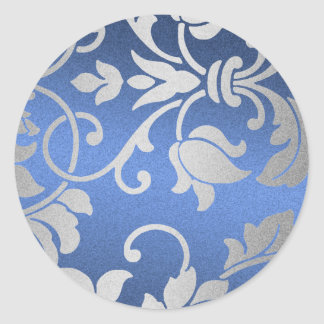 Silver and Blue Damask Design Round Sticker