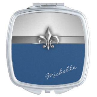 Silver and Blue Faux Metal Fleur de Lis Vanity Mirror
