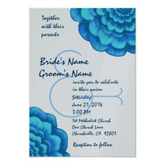 Silver and Blue Flowers Wedding Template 13 Cm X 18 Cm Invitation Card