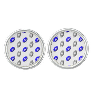 Silver and Blue Football Pattern Cuff Links