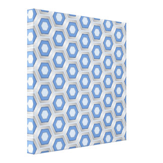 Silver and Blue Hex Tiled Canvas Canvas Print