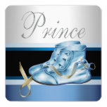 Silver and Blue Prince Baby Shower 13 Cm X 13 Cm Square Invitation Card