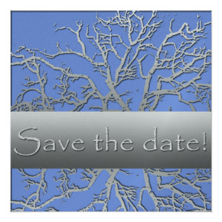 Silver and Blue Save the Date Cards Custom Announcement