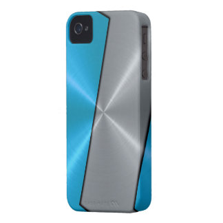 Silver and Blue Stainless Steel Metallic iPhone 4 Covers