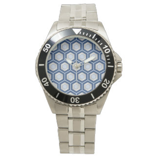 Silver and Blue Tiled Hex Watch
