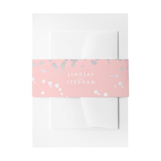 Silver and Blush Pink Elegant Confetti Wedding Invitation