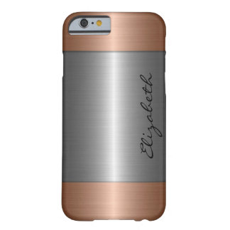 Silver and Bronze Stainless Steel Metal Look Barely There iPhone 6 Case