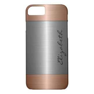 Silver and Bronze Stainless Steel Metal Look iPhone 7 Case