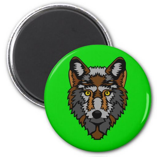 Silver And Brown Wolf Magnet