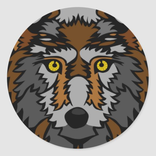 Silver And Brown Wolf Sticker