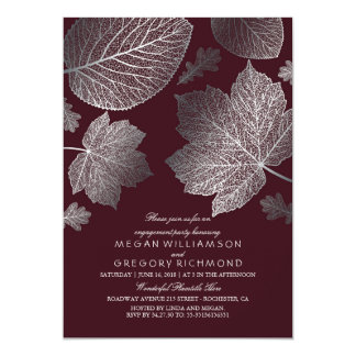 Silver and Burgundy Leaves Fall Engagement Party Card