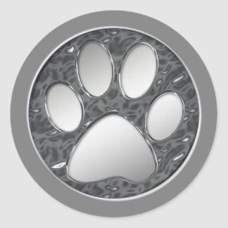 SILVER AND CHROME PAW PRINT CLASSIC ROUND STICKER