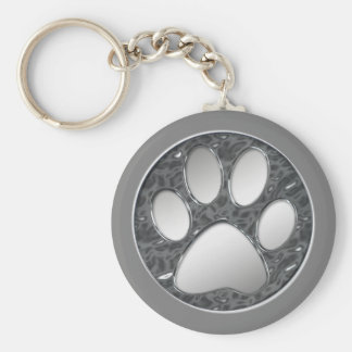 SILVER AND CHROME PAW PRINT KEY RING