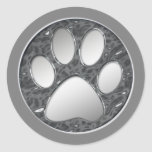 SILVER AND CHROME PAW PRINT ROUND STICKER
