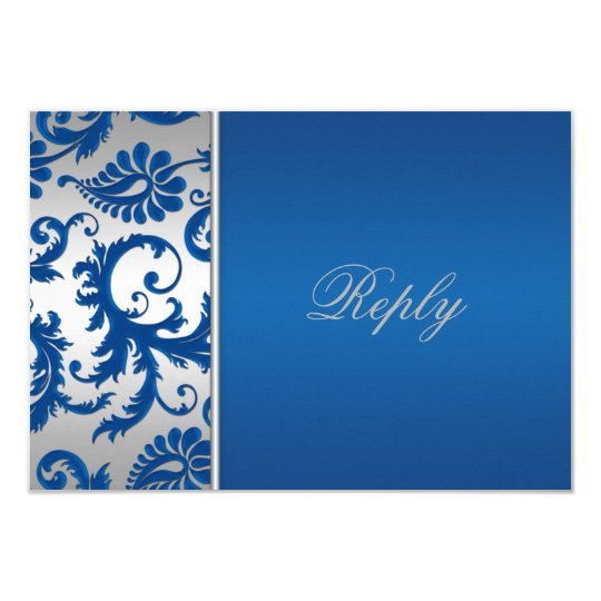 Silver and Cobalt Blue Damask Reply Card