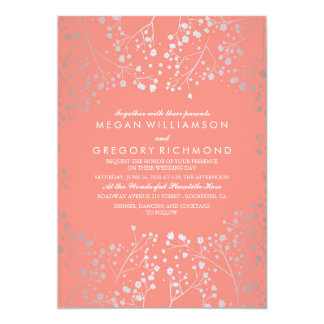 Silver and Coral Baby's Breath Wedding Invitations