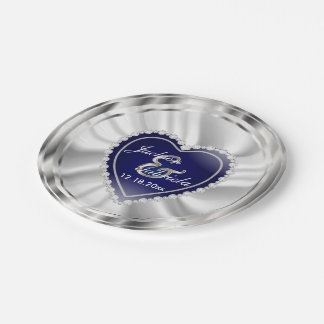 Silver and Dark Blue Wedding or Anniversary Paper Plate