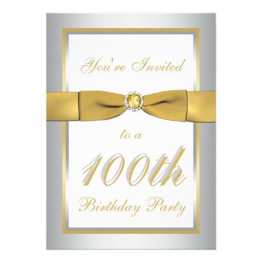 Silver and Gold 100th Birthday Invitation