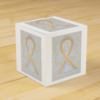 Silver and Gold Awareness Ribbon Party Favor Box Wedding Favour Box