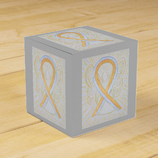 Silver and Gold Awareness Ribbon Party Favor Box Wedding Favour Boxes