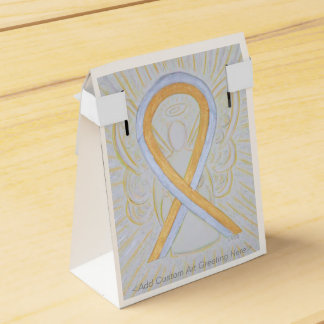 Silver and Gold Awareness Ribbon Party Favor Boxes Wedding Favour Box