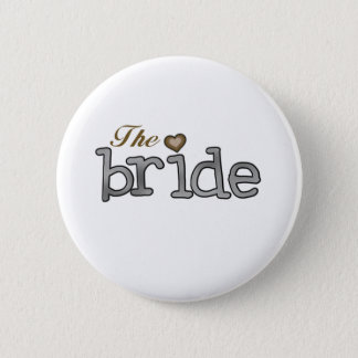 Silver and Gold Bride 6 Cm Round Badge