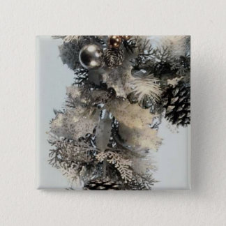Silver and Gold Christmas 15 Cm Square Badge