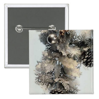 Silver and Gold Christmas Button