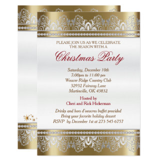Silver and Gold Christmas Holiday Tree Card