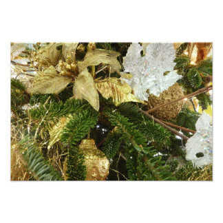 Silver and Gold Christmas Tree II Holiday Photo Print