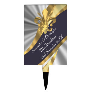 Silver and gold fleur de lys cake toppers