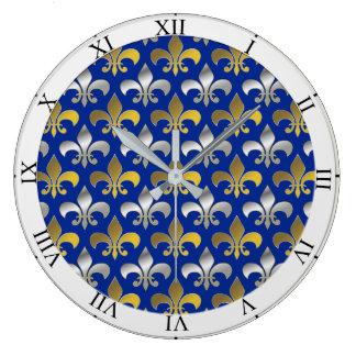 Silver and Gold Fleurs-de-lis on Blue Background Large Clock