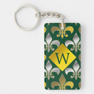 Silver and Gold Fleurs-de-lis on  Green Background Key Ring