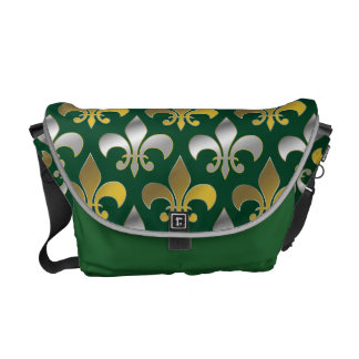 Silver and Gold Fleurs-de-lis on  Green Background Messenger Bags