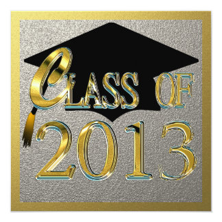 Silver And Gold Graduation Party Invitations