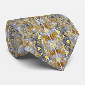 Silver and Gold Heart Abstract Designer Tie