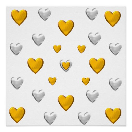 Silver and Gold Hearts Poster