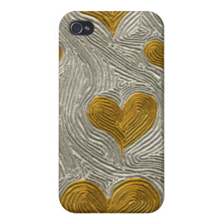 Silver and Gold Hearts Speck Fabric-Inlaid Case Covers For iPhone 4