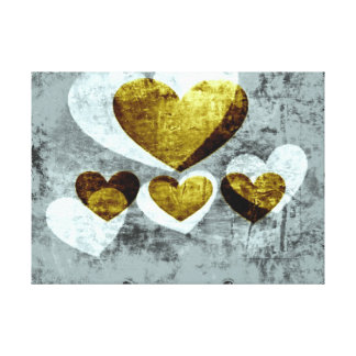 Silver and Gold Hearts Stretched Canvas Print